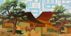 Cottonwood and Deer