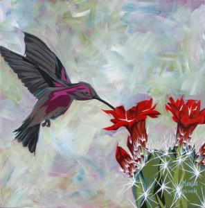 Red Blooms and Hummingbird