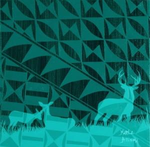 Three Deer in Green
