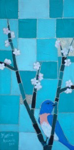 Blue Bird and Cherry Blossoms