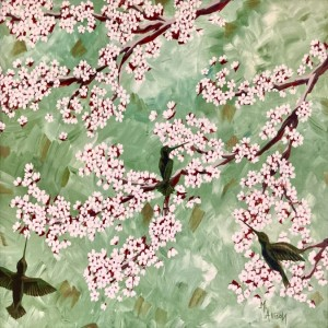 Hummingbirds in Apricot Blossoms